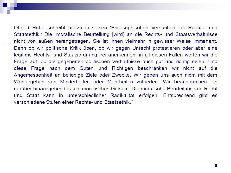 """Otfried Höffe schreibt hierzu in seinen 'Philosophischen Versuchen zur Rechts- und Staatsethik': Die """"moralische Beurteilung [wird] an die Rechts- und Staatsverhältnisse nicht von außen herangetragen."""